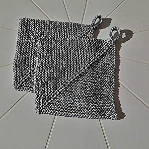 2er Set – 19 x 19 cm, gestrickte Topflappen, doppelt dick, handgestrickt, Einweihungsgeschenk, grau mit silbergrau…
