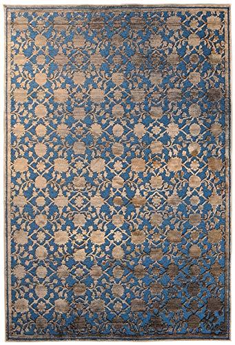 Tapiso Bohemian Teppich Klassisch Kurzflor Vintage Orientalisch Floral Muster Blau Braun Designer Wohnzimmer ÖKOTEX 120 x 170 cm - Dichte, Florale Muster