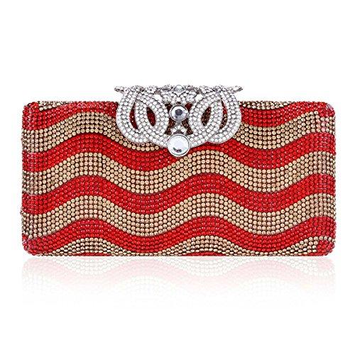 Damara® Luxus Glitzer Damen Hart Clutches Mit Strassverschluss Rot