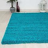 Alfombra Prime tipo shaggy de pelo largo en color turquesa, alfombras modernas para el salón y el dormitorio, monocolor - VIMODA, Maße:120x170 cm