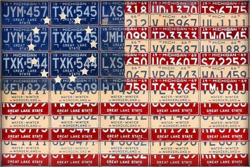 Holzbild 120 x 80 cm: Nummernschild Amerikanische Flagge Betsy Ross Edition von Design Turnpike