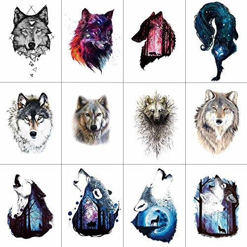 WYUEN 12 Teile/los Wolf Temporäre Tattoo Aufkleber für Frauen Männer Ashion Körperkunst Erwachsene Wasserdichte Hand Ake Tatoo 9,8X6 cm W12-28