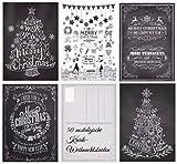 'Biglietti di Natale (Set 3): 'gesso di nostalgia III 50Set di motivi ornamentali biglietti di Natale (5motivi X 10St. = 50St.) in Bianco e Nero–Un Set di cartoline di Natale in stile retrò/vintage nostalgia da Edition Colibri© (10747–51)
