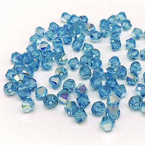 Christoph Palme Leuchten 100 Stück Swarovski 5328 Kristall Perlen ø 4mm Blau Xilion Bead Aquamarine Aurore Boreale Crystal Rhombus Zum auffädeln 202AB -