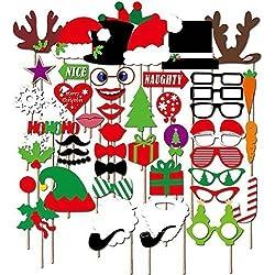 27unidades Navidad Gorro Papa Noel Fiesta Mascaras Accesorios Para Cabina De Fotos Bigote En Una Varilla - 50pcs
