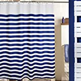 Shower Curtain Rod for Clawfoot Tub MangGou Stripes Fabric Shower Curtain,Waterproof Polyester Bathroom Curtain,Nautical Decorative Shower Curtain liner With 12 Hooks,Mildew resistant,Machine Washable,Navy Blue and White,72 x 72 inch