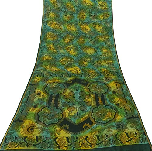 Indiano d'epoca 100% seta verde stampata floreale saree etnici artigianato tessuto 5 yds