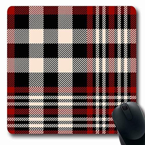 Luancrop Mauspads für Computer Weihnachten Rot Schwarz Schottenkaro Kariertes Muster Weihnachten Beige Country Abstract Schottland Schottische rutschfeste längliche Gaming-Mausunterlage -