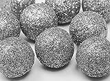 FesteFeiern Weihnachts-Deko I 9 Teile Deko-Kugeln silber je 3cm I Dekoration Adventskranz Gesteck Basteln Tannenbaum Weihnachten
