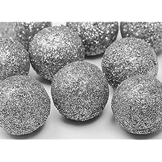 FesteFeiern-Weihnachts-Deko-I-9-Teile-Deko-Kugeln-silber-je-3cm-I-Dekoration-Adventskranz-Gesteck-Basteln-Tannenbaum-Weihnachten
