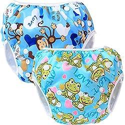 Teamoy Pañal Bañador (2 piezas) Pañal de natar Pantalones de entrenamiento,Mono Azul+Rana