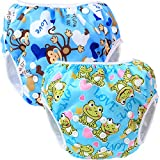 Teamoy 2pcs Baby Nappy riutilizzabile pannolino da nuoto, Monkeys Blue+ Frogs