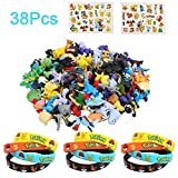 Colmanda Pokémon Mini Figures, 38 Pièces Ensemble de Jouets Pokemon Pokémon Bracelets Pikachu Autocollant PourEnfants et Adultes Party Celebration