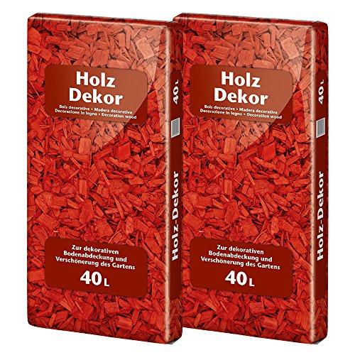 Floragard Mulch Universal Holzdekor rot 2x40 L • Rindenmulch • in roter Färbung • zum Abdecken • dekorativer Bodenbelag • unterdrückt Unkrautwuchs • 80 L -