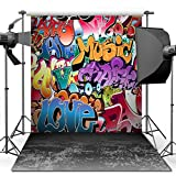 Photography Backdrop, 1.5 x 2.1 m Hip Hop Graffiti Style Backdrop For Studio Props Photo Backdrop