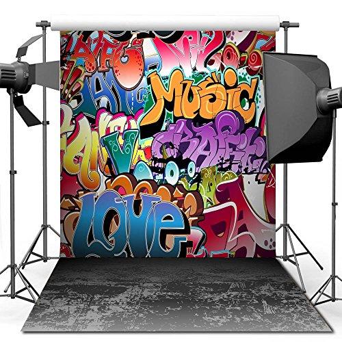 nd, 1,5 x 2,1 m Hip Hop Graffiti Style Hintergrund für Studio Requisiten Foto Hintergrund (Hip-hop-hintergrund)