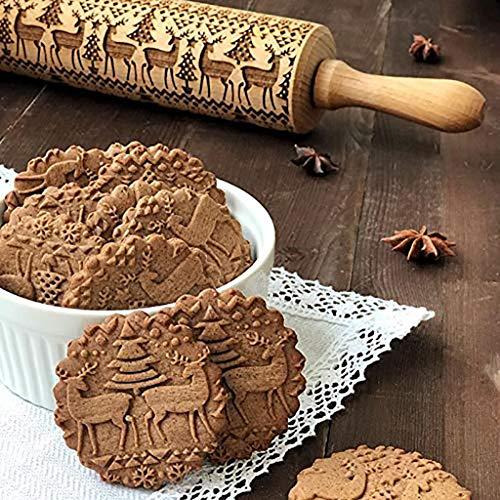 SatinGold Weihnachten Pr?ge Nudelholz aus Buchenholz, 3D Holz Nudelholz mit Blume Symbole, Teigrolle Muster Pr?Gerolle, DIY Küchenhelfer, Backzubeh?R für Fondant Teig Pizza Amygline Keks (45*5*5 cm)