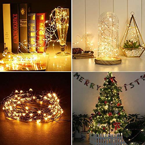 Loxmy Outdoor 10M 100 LED Solar Kupferdraht String Fairy Xmas Garten Licht Farbe Lampe Kupferdraht Wasserdicht Perfekt für Hochzeiten, Schlafzimmer, Weihnacht und DIY Basteln