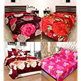 Stop N Shopp Glace Cotton Super Home Combo Double Bedsheet, Size - King, Pack Of 4, Multi Color