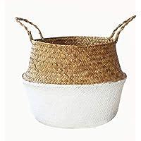 Sumshy Pliable Panier Tressé Rangement de Thailandais, Seagrass Paniers à Linge Faits à la Main avec Double poignée…