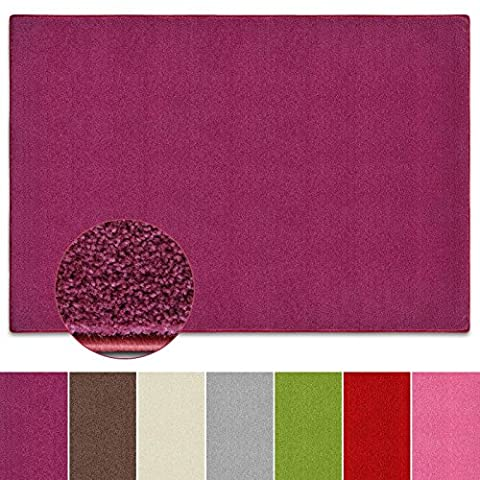 Teppich Noblesse   viele Größen   mit GUT-Siegel   flauschig getufteter Flor in modernen Farben   für Wohnzimmer, Schlafzimmer, Jugendzimmer (lila, 140x200