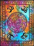 BellaMira - Tapiz indio de meditación de algodón Om Gayatritra Mantra Tie Dye Popular Póster Tamaño 30 x 40 pulgadas Love Yoga Mat Playa Manta Toalla Bohemia Tapices Diseño Último para colgar en la pared arte