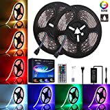 LED Streifen 10m, GLIME LED Strip 2x5M Lichtband Stripes RGB 300LEDs 5050SMD LED Band Wasserdicht IP65 LED Band Kit mit 44 Tasten Fernbedienung für Deko Wohnzimmer Party Küche Weihnachten 2x5m