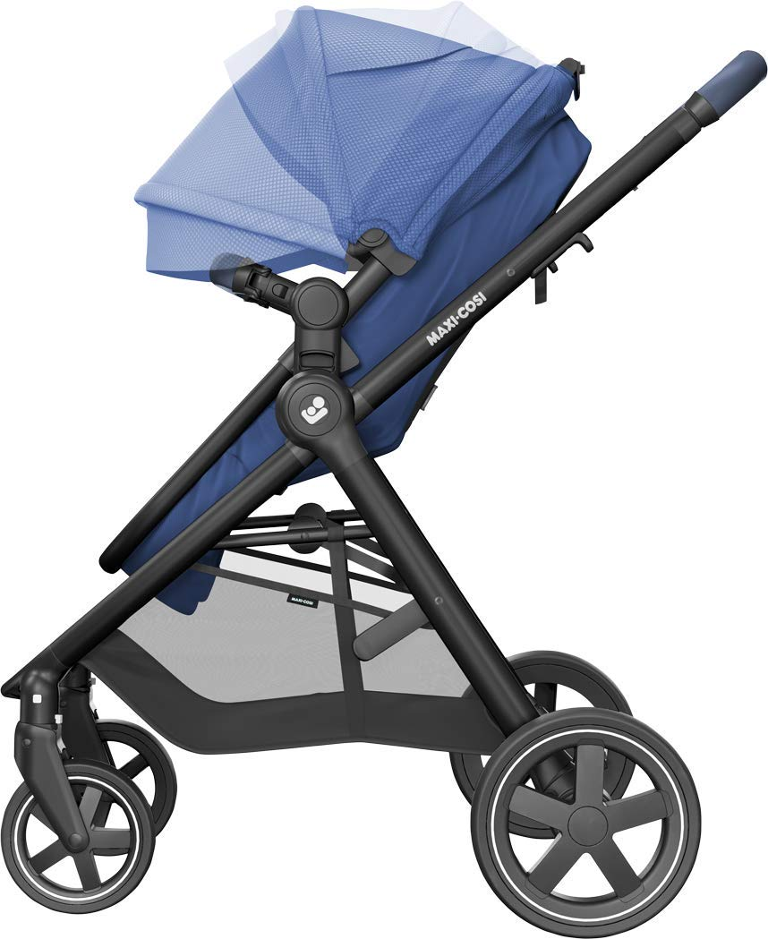 Maxi-Cosi Zelia Baby Pushchair, Lightweight Urban Stroller from Birth, Travel System with Bassinet, 15 kg, Essential Blue Maxi-Cosi Flexible stroller from birth to 3.5 years 2-in-1 seat unit: zelia's seat transforms into a pram bassinet for use from 0 - 12 m in a single movement This city stroller is easy to carry thanks to its lightweight 3
