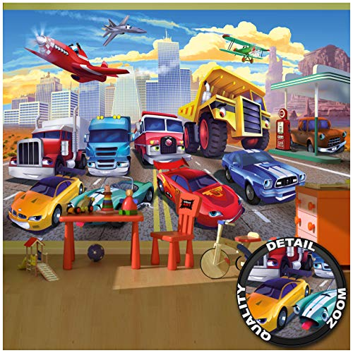 Great Art Fototapete - Autorennen - für Kinderzimmer Wandbild Dekoration Flugzeug Cars Abenteuer Feuerwehr Sportwagen Auto Cabrio Comic Foto-Tapete Wandtapete (336 x 238 cm)