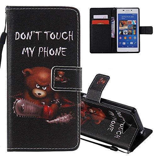 EMAXELERS Sony Xperia M2 Hülle Flip Schale Brieftasche Standfunktion und Karte Halter Etui Kartenfächer Wallet Tasche Etui für Sony Xperia M2,Saws Bear for KATU