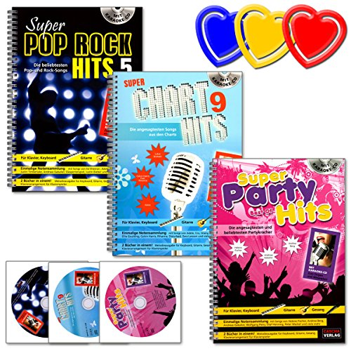 Super Hits - das MEGA-SET für Klavier,Keyboard, Gitarre und Gesang: Super Pop Rock Hits 5 - Super Chart Hits 9 - Super Party Hits - 3 Bücher (Spiralbindung), 3CD´s, 3 Notenklammern !!! (Karaoke-musik-sets)