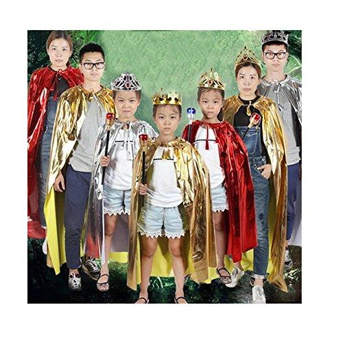 ne Set Kostüm für Erwachsene und Kinder König Königin Prinz Prinzessin Umhang und Krone Cosplay Unisex Kostümfest (Prinz, Blau) (Königlicher Prinz Kostüm Jungen)
