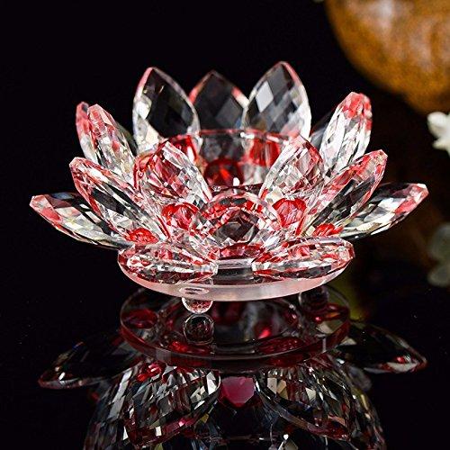 Portavelas feng shui de cristal en forma de flor de loto, con caja de