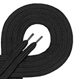 1 par de cordones Di Ficchianoplanos, de poliéster, resistentes,de 7mm aprox. de ancho, en 27colores, 60-200cm de longitud, color Negro, talla 190 cm