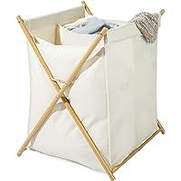 mDesign panier à linge pliable – corbeille à linge transportable à deux compartiments pour salle de bain – bac à linge…