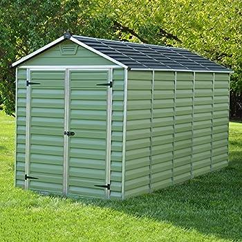 6 x 12 green skylight plastic apex storage shed by waltons - Garden Sheds 6 X 12