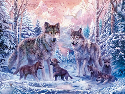 Fipart 5D DIY Peinture Diamant Point De Croix Kit D'artisanat ,Salon Stickers Muraux Décor à La Maison(14X16inch/35X40CM)loups