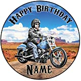 Personalisierter Harley Davidson Motorrad Zuckerguss Kuchen Topper / Kuchendekoration - 20 cm Großer Kreis - Jeder Name Und Jedes Alter