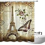 fourHeart Cortina de ducha, Cortinas baño, Poliéster, Impermeable y Resistente al Moho, Incluye 12 Anillos, impresión 3D Mariposas, flores y Torre Eiffel, 180 x 200 cm