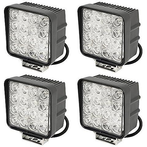 SLPRO® 4x LED 48Watt, fanali alogeni per fuoristrada, 3800lumen 6000K 67IP retromarcia–-Trattore–-ruspa