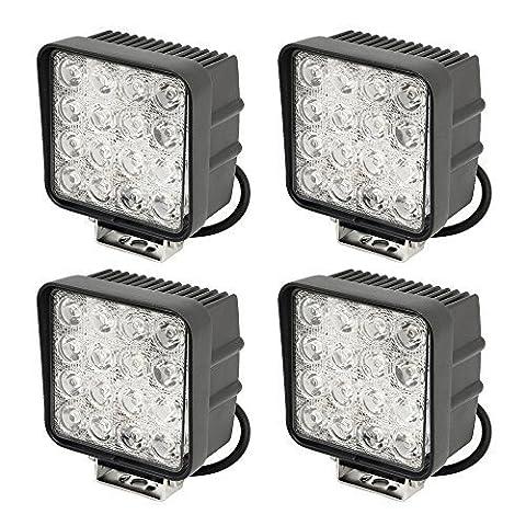 SLPRO Lot de 4 lampes de travail/phares arrière à LED pour tracteur/engins de chantier IP67 48 W 6000 K 3800 lm