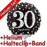 Carpeta Folienballon * Zahl 30 Happy Birthday + Helium FÜLLUNG + Halte Clip + Band * Zum 30. Geburtstag // Folien Ballon Party Helium Deko Ballongas Motto dreißig Jahre Glückwunsch