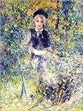 Leinwandbild 90 x 120 cm: Junges Mädchen auf Einer Gartenbank von Pierre-Auguste Renoir/ARTOTHEK - fertiges Wandbild, Bild auf Keilrahmen, Fertigbild auf Echter Leinwand, Leinwanddruck