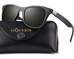 GQUEEN Polarised Sunglasses for Men Women Retro Sunglasses Man for Driving Fishing Sports MO90