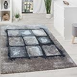Paco Home Designer Teppich Wohnzimmer Webteppich Geometrische Muster Webteppich Grau Creme, Grösse:160x230 cm