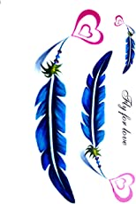 3D Temporary Tattoo Color Feather Hearts Design Size 10.5x6CM - 1PC.