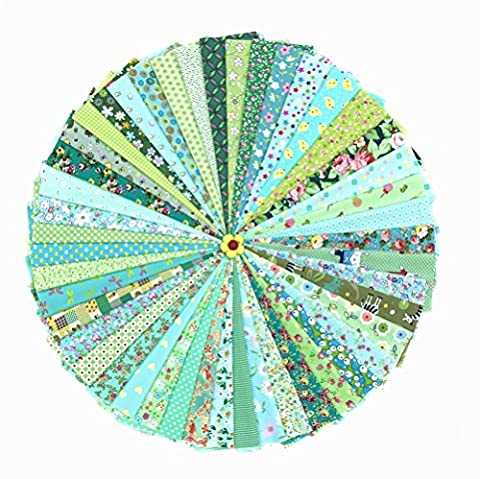 RayLineDo® 46PCS 20*30cm Assorted Pre-Cut Printing Cotton Cloth Material Mixed Squares Bundle Quilt Fabric Patchwork For DIY Handmade Craft, Green Color