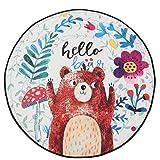 Jeteven Baby Krabbeldecke Matt Kinderzimmer Kinderteppich Decke , groß und weich gepolstert mit AU Aufbewahrungsbeutel, ca.150cm, Muster: Fuchs (F: Bär)