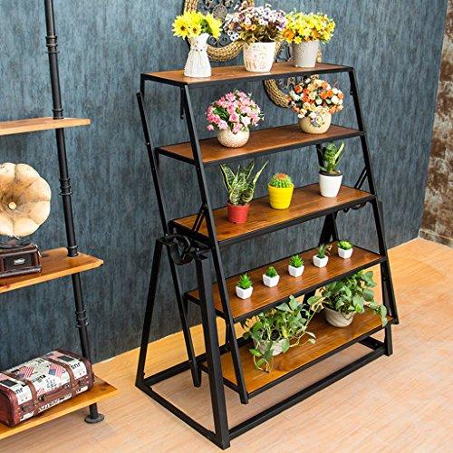 Preisvergleich Produktbild JNYZQ Haushalts-Eisen-Kunst-Weinlese-hölzerner Multifunktionsverformungs-Küchen-Klapptisch-Blumen-Stand (größe : 140 * 80 * 75cm)