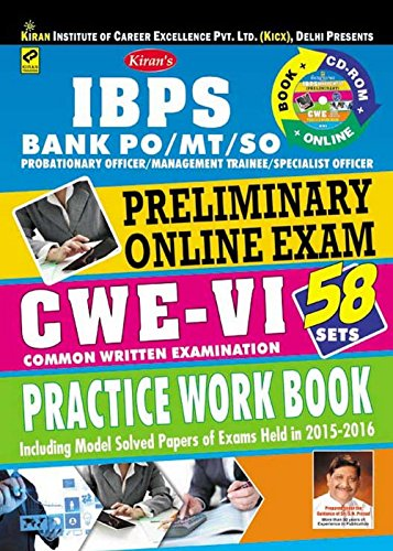 Kiran's Bank Po/Mt/So Preliminary Online Exam CWE - VI Practice Work Book (With Cd)  available at amazon for Rs.360